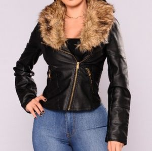Jackets & Blazers - 🆕 Faux Fur Leather Moto Jacket